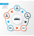 car icons set collection of fixing transport vector image