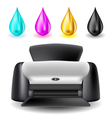 Printer with CMYK drops vector image vector image