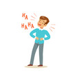 happy boy with dark brown hair laughing out loud vector image