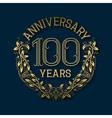 Golden emblem of hundredth years anniversary vector image