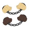 Hands in steel handcuffs vector image