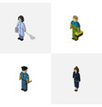 isometric people set of housemaid plumber vector image