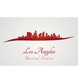 Los Angeles skyline in red vector image