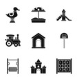 Children entertainment icons set simple style vector image