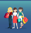 cartoon woman group with shopping bag vector image