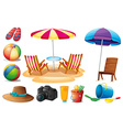 Things found at the beach during summer vector image