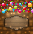 colorful balloons hanging flags on wooden texture vector image