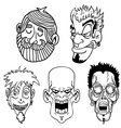 black and white character face set vector image