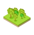 Forest or Park Fragment in Isometric Projection vector image
