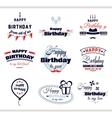 Happy Birthday Labels Set vector image