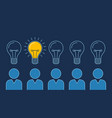 one lit bulb among unlit bulbs above persons new vector image