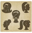 women hairstyles old background vector image