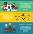 sport equipment banner horizonatal set flat style vector image