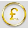 Concept golden pound symbol logo button vector image