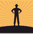 cowboy silhouette man design vector image