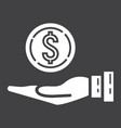 money in hand glyph icon business and finance vector image