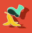 realistic paper sticker on theme humor banana peel vector image
