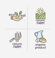 the flat linear set of logos natural products vector image