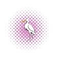 White crane icon comics style vector image