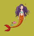 cute cartoon mermaid and fish siren sea theme vector image