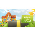 Back to school road and sign cartoon background vector image