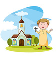 Church and priest vector image