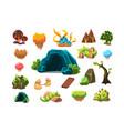 fabulous cave trees plants mushrooms design vector image