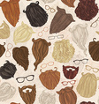 Seamless pattern of hipster beards and eyeglasses vector image