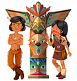 Two native americans and totem pole vector image