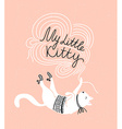 Stylish card with cute white cat and stylish vector image