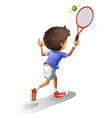 A kid playing tennis vector image