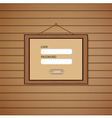 Picture frame Web login form template vector image vector image