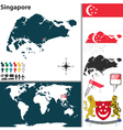 Singapore map world vector image vector image