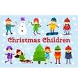 Christmas kids playing winter games Skating vector image