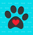 animal paw with heart blue card vector image