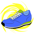 Blue running shoes on a yellow abstract background vector image