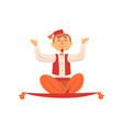 cheerful man flying on magic carpet magician vector image