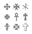monochrome icons set with christian cross vector image
