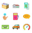 petrol station icons set cartoon style vector image