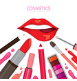 woman lip with lipsticks set vector image