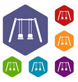 Wooden swings hanging on ropes icons set vector image