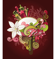 floral design with flowers stars and swirls vector image vector image