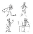 lineart vintage businessman cartoon characters set vector image vector image