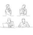 Businessman thinking linear design continuous vector image