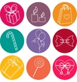 Happy birthday elements colorful icon set vector image