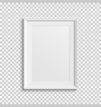 realistic white picture frame on transparent vector image