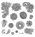 Set of hand draw black flower design vector image