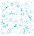dragonflies flowers seamless background vector image vector image