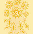 yellow fantasy flower on light yellow background vector image vector image