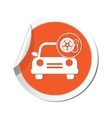 car with wheel pump icon orange label vector image vector image
